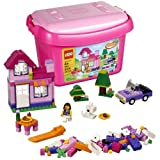 Lego Year 2012 Bucket Series Set #4625 Pink Brick Box With Summer Vacation House, Table, Car, Girl Minifigure...