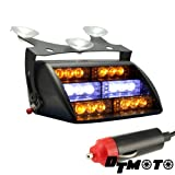 Amber White 18x LED Emergency Vehicle Warning Windshield Dash Strobe Light - 1 unit