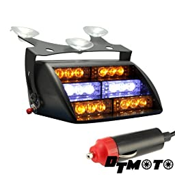 DT MOTO™ Amber White 18x LED Emergency Vehicle Warning Windshield Dash Strobe Light - 1 unit