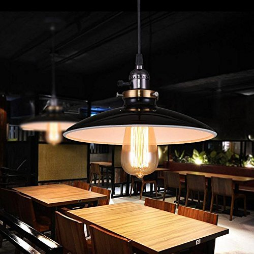 Loft-Lampadario-Vintage-da-soffitto-pendente-Light-Fixture-Lampada-a-sospensione-paralume-stile-Vintage-lampadina-non-inclusa