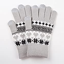 WaitingU Thicken Soft Knitted Texting Touch Screen Gloves for Smartphones PC Laptop Tablet Driving Skiing and Cycling Liners Fingertips iPhone Use Outdoors Great Winter Gift for Women Ladies Girls