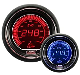 "Oil Temperature Gauge- Electrical Red/blue EVO Series 52mm (2 1/16"")"