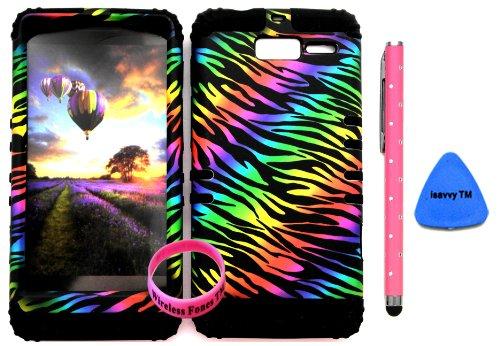 Bumper Case For Motorola Droid Razr M (Xt907, 4G Lte, Verizon) Protector Case Black Rainbow Zebra Snap On + Black Silicone Hybrid Cover (Stylus Pen, Pry Tool & Wireless Fones' Wristband Included)