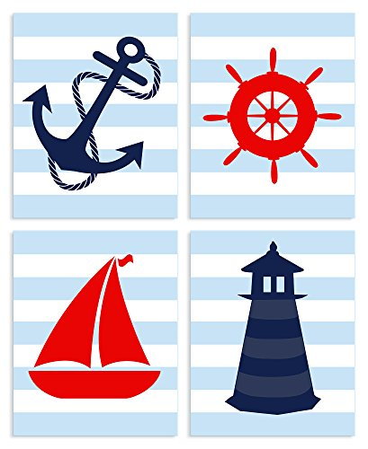 The Kids Room by Stupell Blue Striped Nautical Themed 4-Pc Rectangle Wall Plaque Set