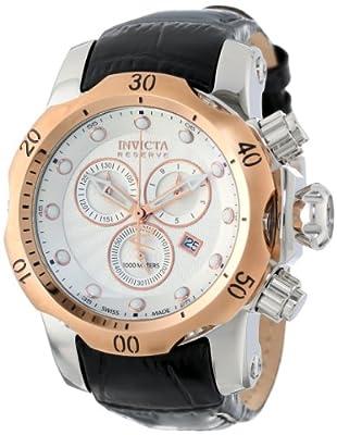 Invicta Men's 10810 Venom Reserve Chronograph Silver Textured Dial Black Leather Watch