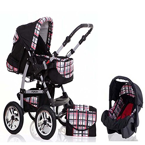 15-teiliges-Qualitts-Kinderwagenset-3-in-1-FLASH-Kinderwagen-Buggy-Autokindersitz-all-inklusive-Paket-in-Farbe-SCHWARZ-ROT-KARIERT
