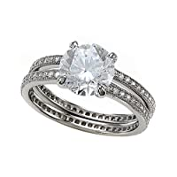 3.09 cttw Zoe R(tm) Sterling Silver Micro Pave Eternity Wedding Set with Cubic Zirconia (CZ)