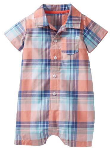 Carter'S Baby Boys' Plaid Woven Romper (Baby) - Orange - 12 Months front-172009