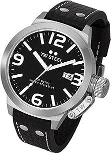 buy Tw Steel Men'S Tw22N Canteen Black Leather Black Dial Watch