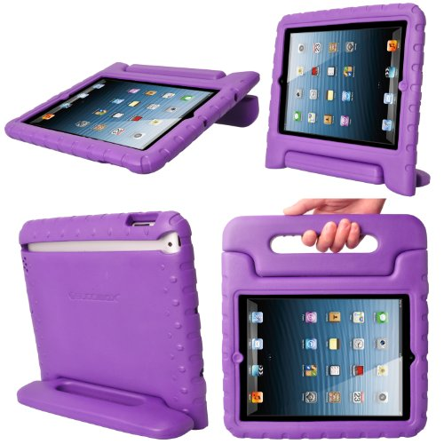 Ipad Case, Kids Ipad Cases, Buddibox Colorful Carrying Case With Foldable Built In Stand, Case For Ipad 4, Ipad 3, Ipad 2, And Ipads With Retina Display, (Purple) front-574948