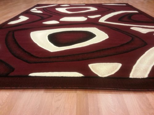 E522 Contemporary Modern Transitional Burgundy Red 5x8 Actual Size 5'3x7'2 Rug
