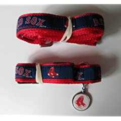 Boston Red Sox Premium Pet Set Dog Leash Collar ID Tag LARGE by Hunter
