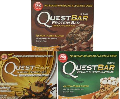 Quest Bar Trio Bundle: Chocolate Brownie, Peanut Butter Supreme, And Chocolate Peanut Butter