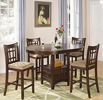 5pc Counter Height Dining Table and Stools Set in Dark Cherry Finish