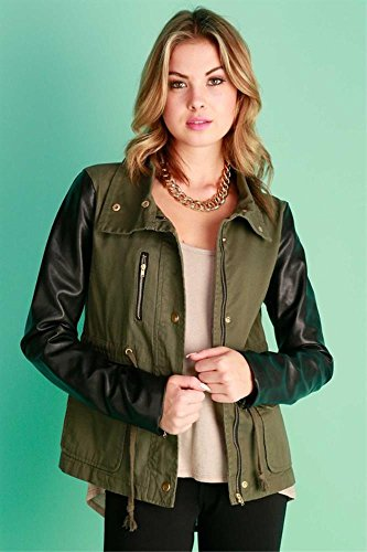 Junior's Fashion Faux Leather Zippered Crop Jacket Without Hood