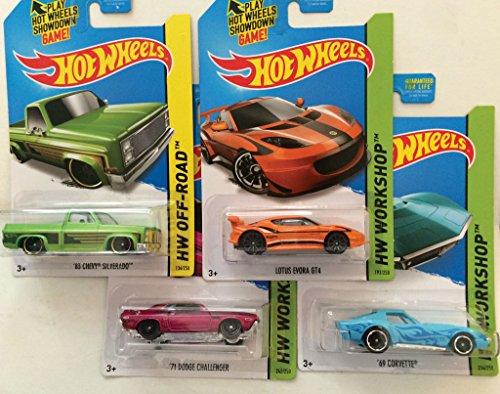 2014 Hot Wheels Kmart Exclusive Set Of 4 - '69 Corvette (Light Blue), Lotus Evora Gt4 (Orange), '83 Chevy Silverado (Green), '71 Dodge Challenger (Pink) - [Ships In A Box!]