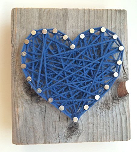 Rustic dark blue string art heart block - A unique gift for a new Baby Boys, Weddings, Anniversaries, Birthdays, Valentines'Day, Christmas and just because.