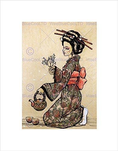 TEA CEREMONY JAPANESE GEISHA TEAPOT CHERRY BLOSSOM BLACK FRAME FRAMED ART PRINT PICTURE + MOUNT B12X8695