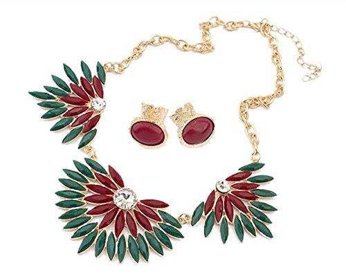 Yamimi Fashion Golden Chain Wine Red Petals Mint Beads Pendant Necklace & Resin Earrings Set