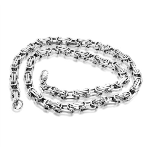 Mens Silver Tone Solid Mechanic Style Mens Chain Link Necklace 21 1/2 inches