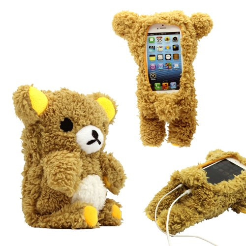 GEARONIC TM New 2016 3D Cute Doll Toy Cool Plush Teddy Bear Cover Shockproof Dirt Dust Proof Case For Apple iPhone SE 4 4S 4G 5 5S 5C (Iphone 5c Protective Case Cute compare prices)