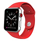 Sport Band for Apple Watch 42mm, BANDEX Soft Silicone Strap Replacement Wristbands for Apple Watch Sport Series 3 Series 2 Series 1(Red 42MM M/L)