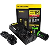 NITECORE i2 (New 2014 version) Intellicharge universal smart battery Charger For Li-ion / IMR / Ni-MH/ Ni-Cd 26650 22650 18650 18490 18350 17670 17500 17335 16340 RCR123 14500 10440 AA AAA AAAA C types, with 2 X EdisonBright AA to D type battery spacer/converters (2 Bay version of i4)