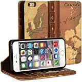 iPhone 6 Case, GMYLE® [Book Case] iPhone 6 (4.7 inch) case Wallet Book Case Vintage for iPhone 6 (4.7 inch) - World Map Pattern Classic [Crazy Horse Pattern] [PU Leather] Book style Wallet Case Cover