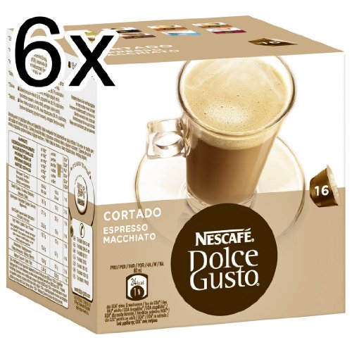 Nescafé Dolce Gusto Cortado Espresso Macchiato, Pack of 6, 6 x 16 Capsules