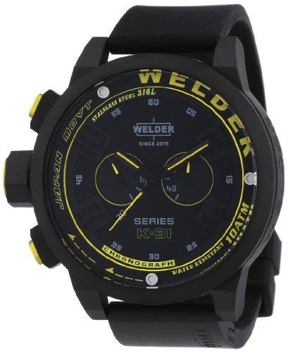 Welder K31 2603 - Reloj cronógrafo de cuarzo unisex con correa de caucho, color negro