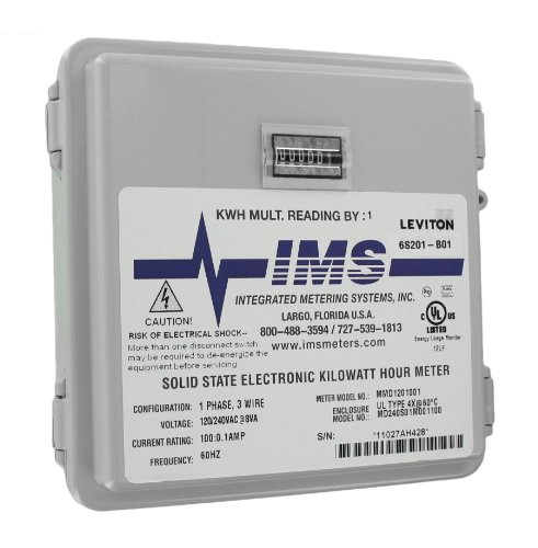 Leviton 6S201-B01 2Ph, 3W, 240V, Small Outdoor Enclosure, 01 Installed Meter, Mechanical 1 Kwh Counter, 100:0.1, Grey