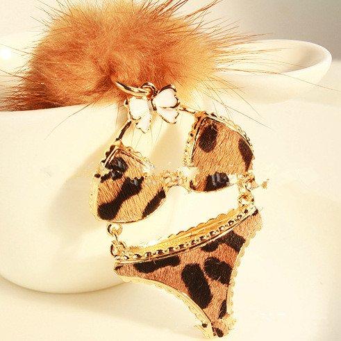 2014 Newest Design Sexy Leopard Key Chain Women Bag/Backpack/Car/Key/Handbag Accessories Car Keyring Underwear Shape Key Fob Key Jewelery Fashion Decoration
