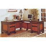 Traditional Dark Two-Tone L Shaped Computer Desk w/Storage