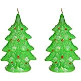 Atorakushon Smokeless Decorative Multi Designer Pack Of 2 Smokeless Scented Christmas Tree Candles For X-mas New...