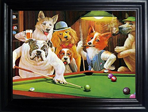 Dogs Playing Poker Framed Holographic Wall Art Posters