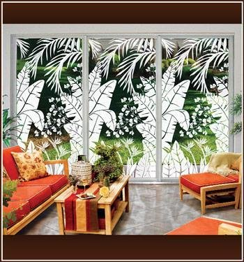 Tropical Oasis Etched Glass design
