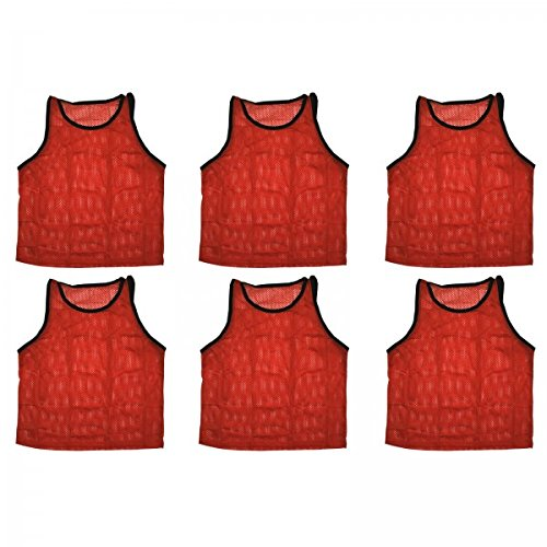 BlueDot Trading 6 Red Adult Vests- Pinnies for Any Activity (Blue Numbered Basketball Jersey compare prices)