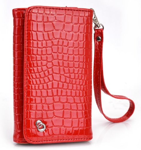 Aurora Red MustHave Wristlet Croc Wallet Case for Samsung Galaxy A3 (2016), J1 (2016), S6, S5 mini, S4 S4 Mini, S3 S2 Smartphone (Forro Para Samsung Galaxy S4 Mini compare prices)