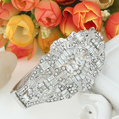 EVER FAITH The Great Gatsby Inspired Art Deco Bracelet Clear Austrian Crystal Silver-Tone Clear