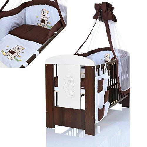 Baby-Kinderbett-BR-120x60-cm-weiss-braun-mit-9-teiligen-Bettwsche-Komplettset-und-Matratze