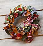 シックな秋色、紅葉のリース♪艶やかな秋色の葉を合わせた秋風色のリース