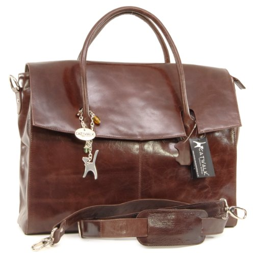 Catwalk Collection Helena Over-Sized Laptop Bag - Vintage Leather - Brown