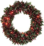 Festive-30cm-die-cut-holly-dark-pine-and-red-chunky-loop-tinsel-wreath-with-25-red-battery-operated-led-lights