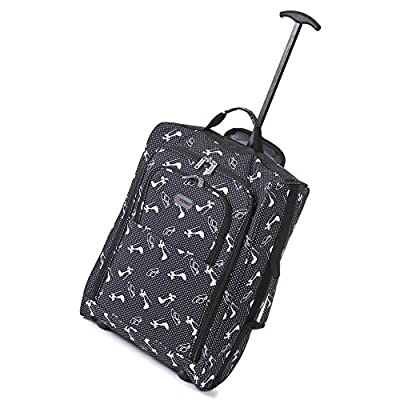 5Cities 50cm Lightweight Trolley Hand Luggage Bag - Approved Ryanair & Easyjet 2 Wheel Cabin Carry On Board Baggage. 33/42L Travel Suitcase Bag with Padlock. (50CM, Hats/Shoes Black)