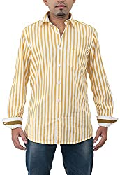 Passion Men's Regular Fit Casual Shirt (FS4833SNLFS, Yellow, Small)