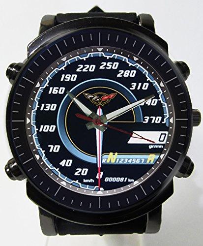 Hot Item Chevrolet Corvette Spedoometer Car Blueish Glass Awesome Logo Custom Printed Sports Wrist Watch