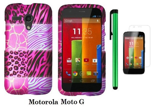 Motorola Moto G (Verizon, Boostmobile) Premium Pretty Design Protector Hard Case Cover + Screen Protector Film + 1 Of New Metal Stylus Touch Screen Pen (Pink Exotic Skins : Leopard & Zebra & Block)