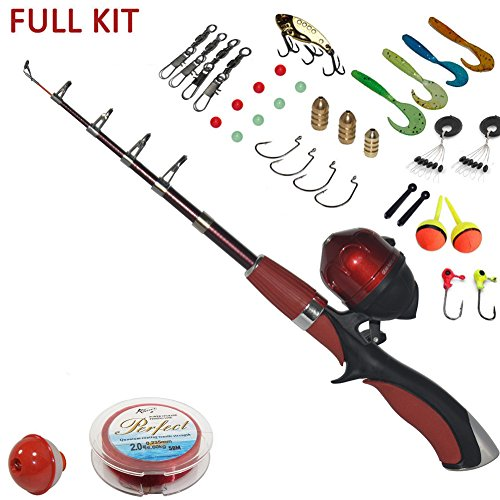 Buy portable mini fishing rod and reel combo kids fishing for Open reel fishing pole