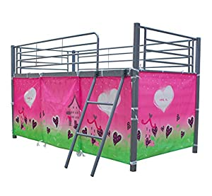 FoxHunter Childrens Metal Mid Sleeper Cabin Bunk Bed Kids Tent Single 3FT Girl No Mattress New