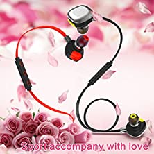 buy Bluetooth Headphones Morul 2Pcs Packing Light Weight Aptx Wireless Bluetooth Headsets For Sports With Waterproof Ipx7 Bluetooth 4.1 Noise Cancellation For Iphone And Android Phones - Red And Black